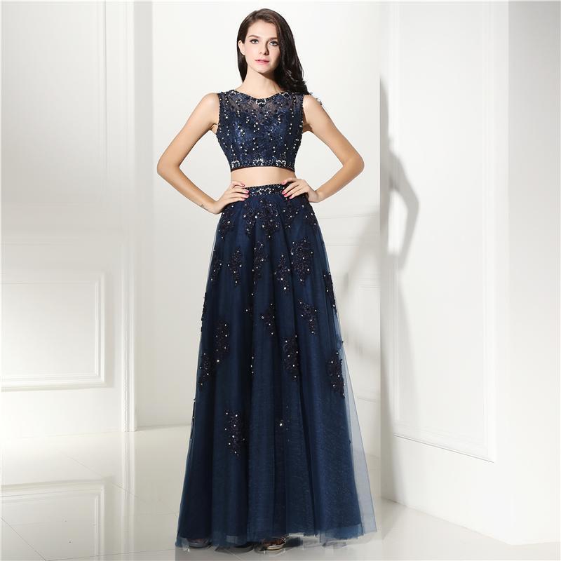 Compre Vestido De Fiesta De Dos Piezas Vestido Largo De Azul Marino 2 Piezas De Apliques De Encaje Vestido De Noche Sin Mangas De Tul A 12563 Del
