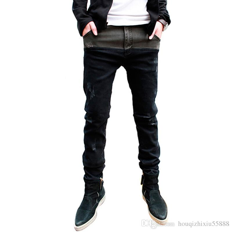 Popular New Brand Designer Skinny Jeans Men Stylish Fashion Casual Straight Leg Jeans Pants Black Size 28-33