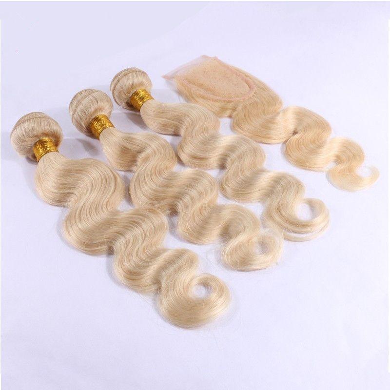 9A Cheveux Humains Blonds Malaysiens Avec Fermeture 4Pcs Lot # 613 Bleach Blond Cheveux Vierges Malaisiens 3 Bundles Avec 1Pc Corps Vague Dentelle Fermeture