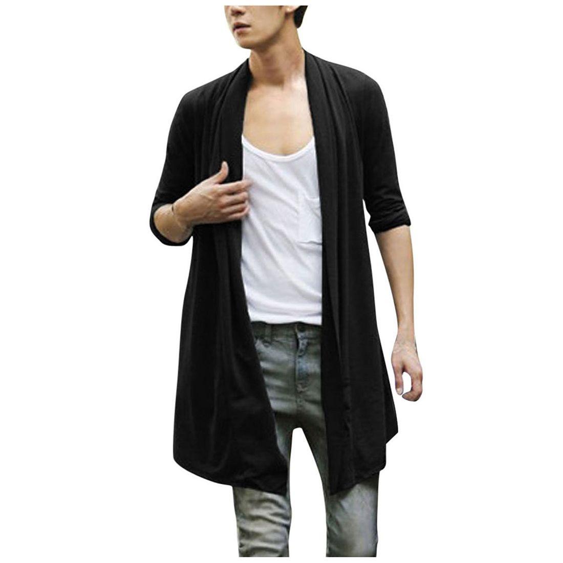 Fall-Men Shawl Collar High-Low Hem Long Cardigan
