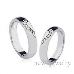 Mode legering plating sieraden paar Oostenrijkse kristal hart paar ring romantische trouwringen voor jongens en meisjes sieraden