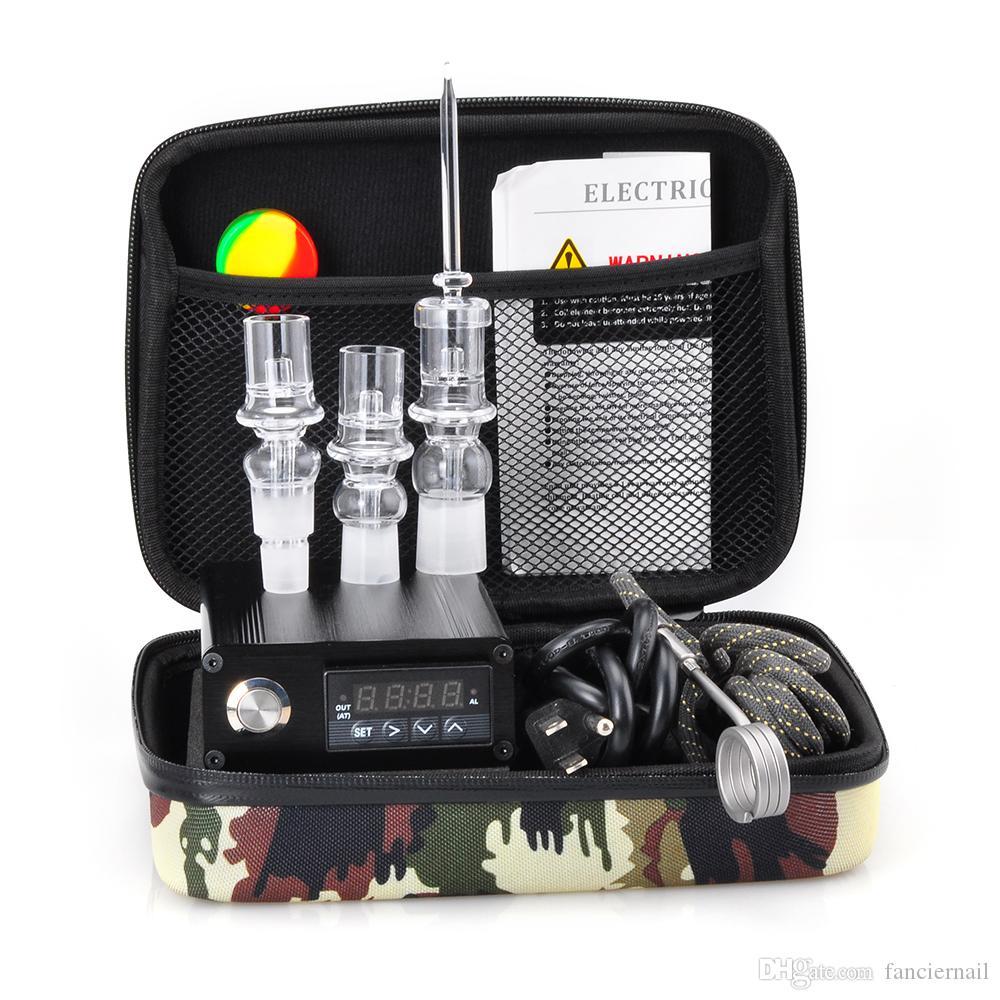 Cheap E Quartz Nail Dab Kit Nail Box per unghie al quarzo Carb Cap 14 18 millimetri maschio regolatore di temperatura Rig Bong di vetro