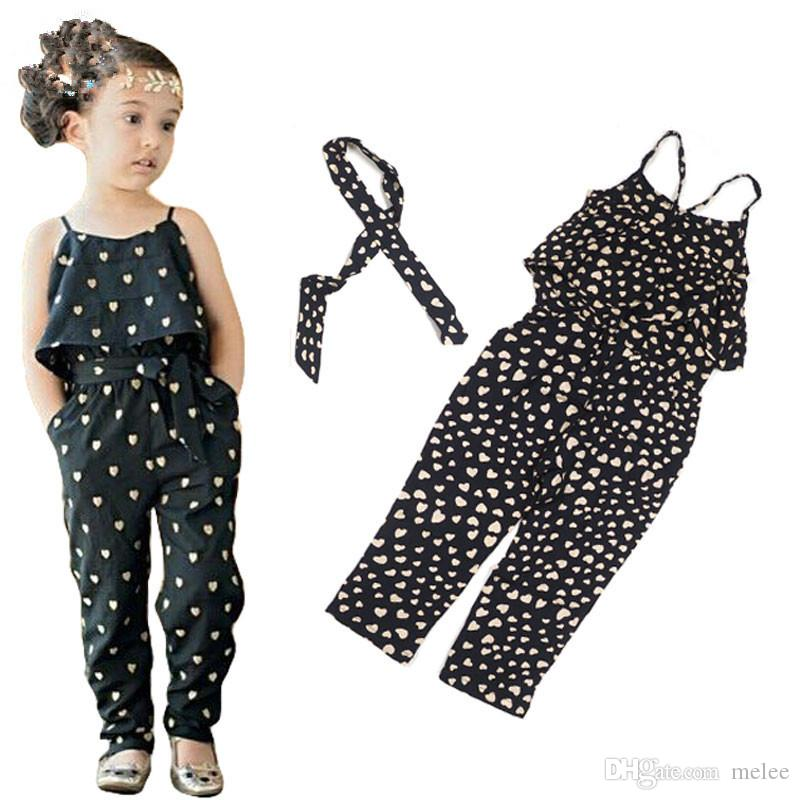 Summer Kid Girls Love Heart Strap Rompers Playsuit Jumpsuits Pants Clothing 2-7Y