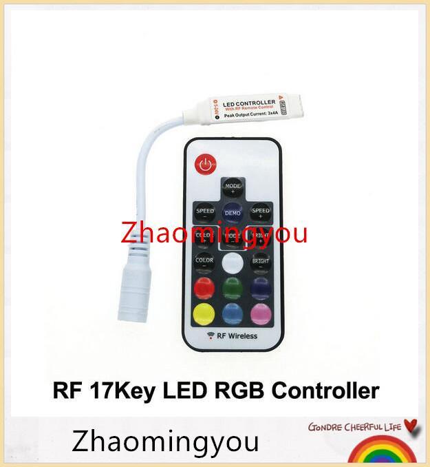 10 PCS Frete grátis LED Controlador RGB DC12-24V 17key RF Controle Remoto Sem Fio para RGB LED Strip.