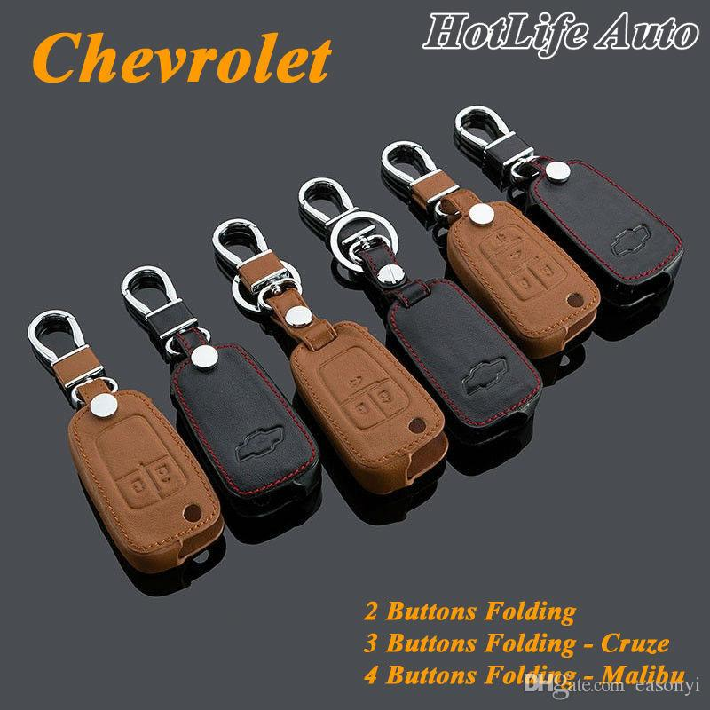 100% Genuine Leather Keychain Car Key Case Cover Folding Remote Alloy Key Rings Car Keychain Fits for Cruze Malibu Car Key Chain