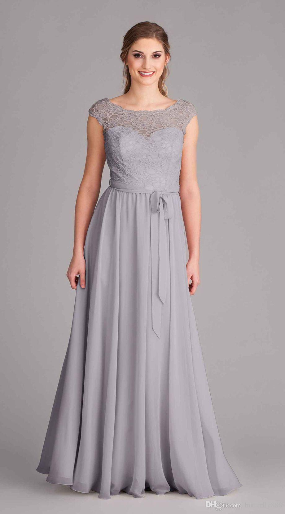 Sexy silver grey long bridesmaid dresses 2017 scoop neck cap sexy silver grey long bridesmaid dresses 2017 scoop neck cap sleeve chiffon lace wedding party dress ombrellifo Image collections