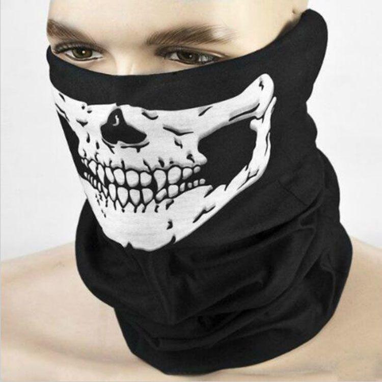 New 18.5 Inches Skull Bandana Bike Helmet Neck Face Mask Paintball Sport Headband Seamless Multi Function Magic Scarf