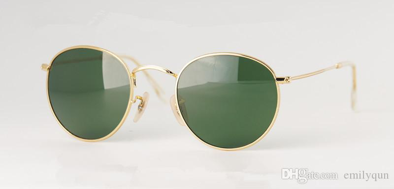 Redondas Flash espelho lentes óculos de sol estilo retrô homens mulheres óculos de sol vintage óculos de sol óculos de sol UV400 vidro com caixa rbriginal