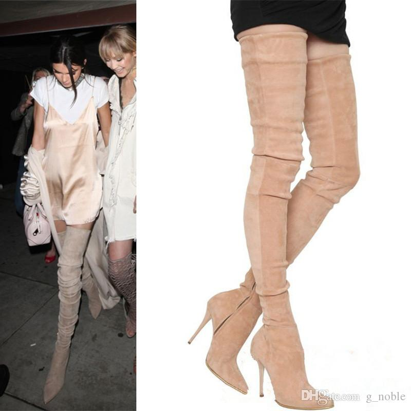 great deals on fashion luxury fashion first rate Slim Fit Pointy Thigh High Boots Celebrity Fashion Long Boots Stretch Suede  Elastic Boots Party Shoes Platform Boots Chelsea Boot From G_noble, ...