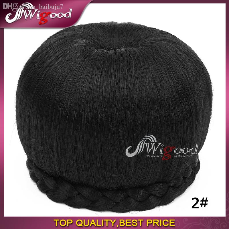 Wholesale-Fake Hair Chignon Bun Hairpiece Braided Clip in Hair Chignon Bun Hair Donut Roller Chignon Size Large Headdress Wigood