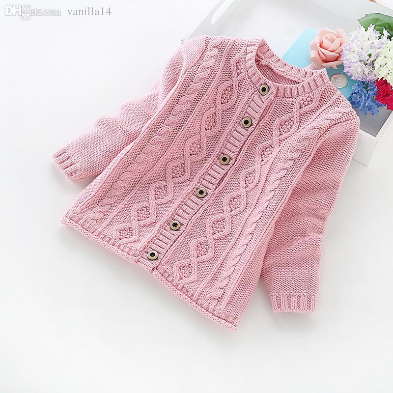 Оптовая продажа-2016 новый осень и зима детская одежда девушки сплошной цвет хлопок свитер хлопок девочек кардиганы b8012