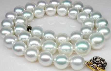 All'ingrosso naturale collana di perle bianco argento S925 18 pollici 11-12mm mare sud