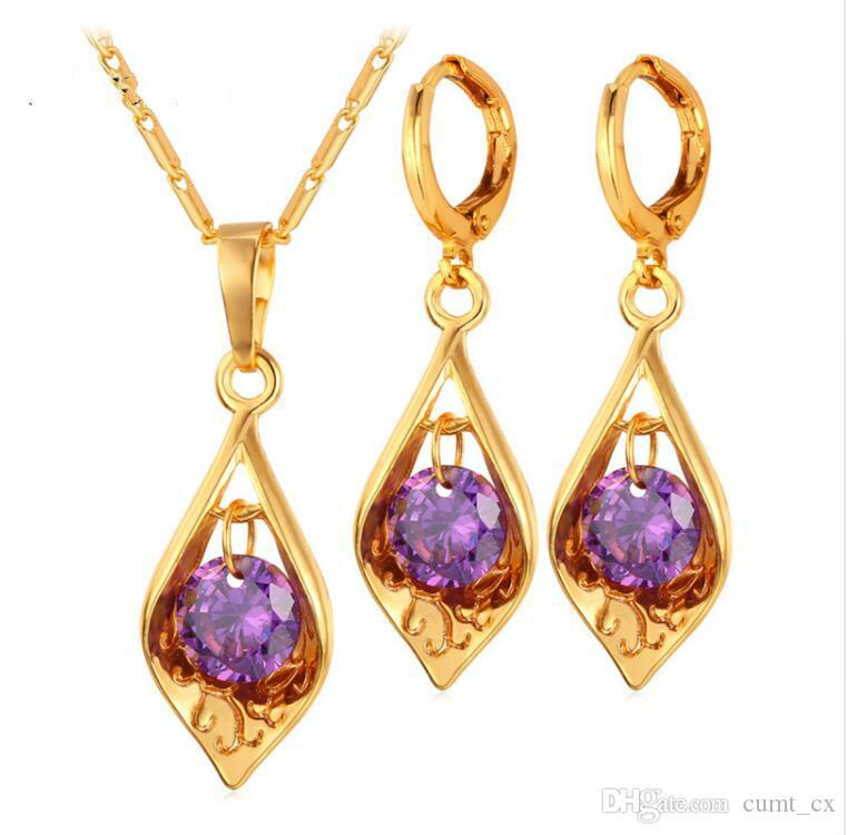 Marca Vintage Pendientes Collar Mujeres Collar Moda Joyería Oro Color Púrpura Crystal Jewelry Set Envío gratis