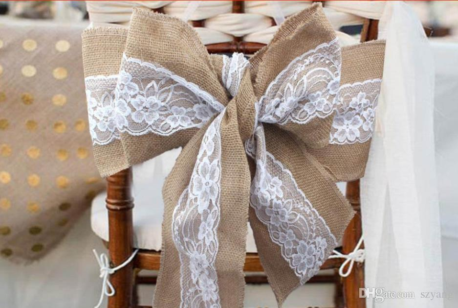 Lace Table Runner Burlap Rustic Chic Hessian Jute Lace Chair Sash