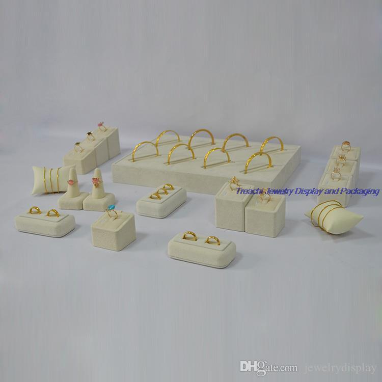 Beige Velvet 17pcs kit Jewelry Display Wedding Rings Holder Show Case for Bangle Stand Tray with Watch Pillows Free shipping