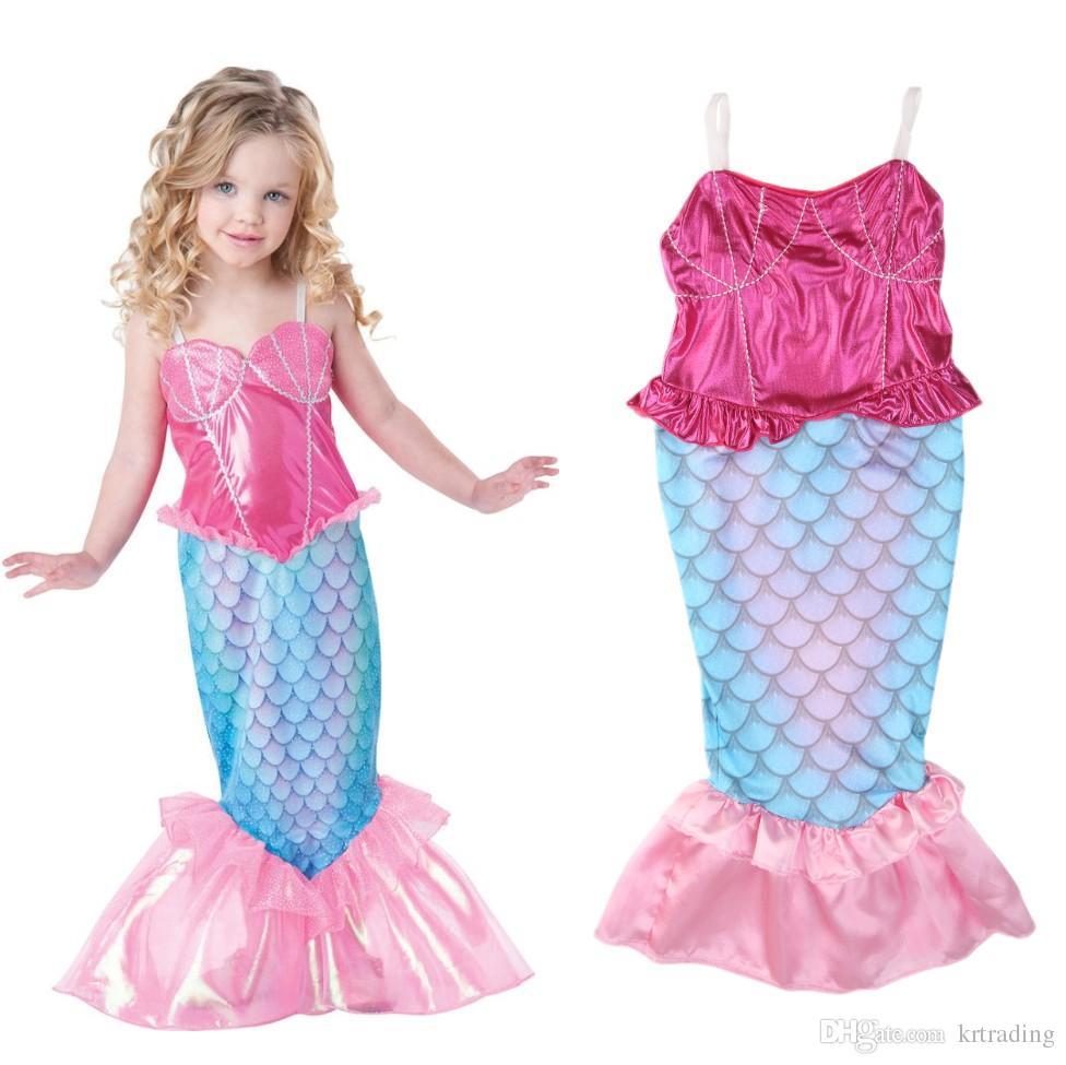Sereia da menina Cosplay dress crianças festa vestido de princesa Sereia Traje Realizar Roupas crianças roupas de Festa de Natal