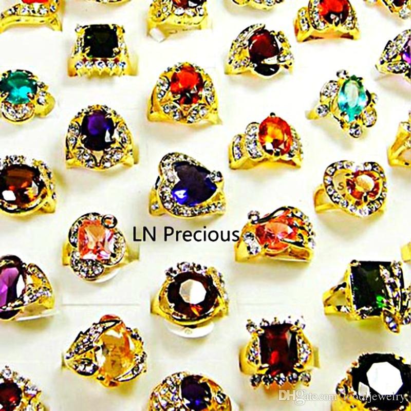 Art- und Weiseklassisches Rhinestone-Zirkonia-Gold überzogene Fingerringe für Frauen Whole Bulk Jewelry Lot LR078