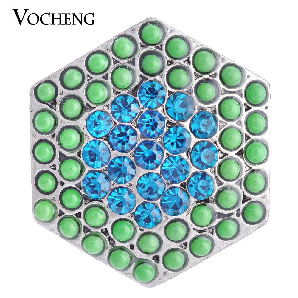 NOOSA Snap Charms interchangeables Hexagon Crystal Button 3 couleurs Perle Snap Bijoux VOCHENG Vn-1073