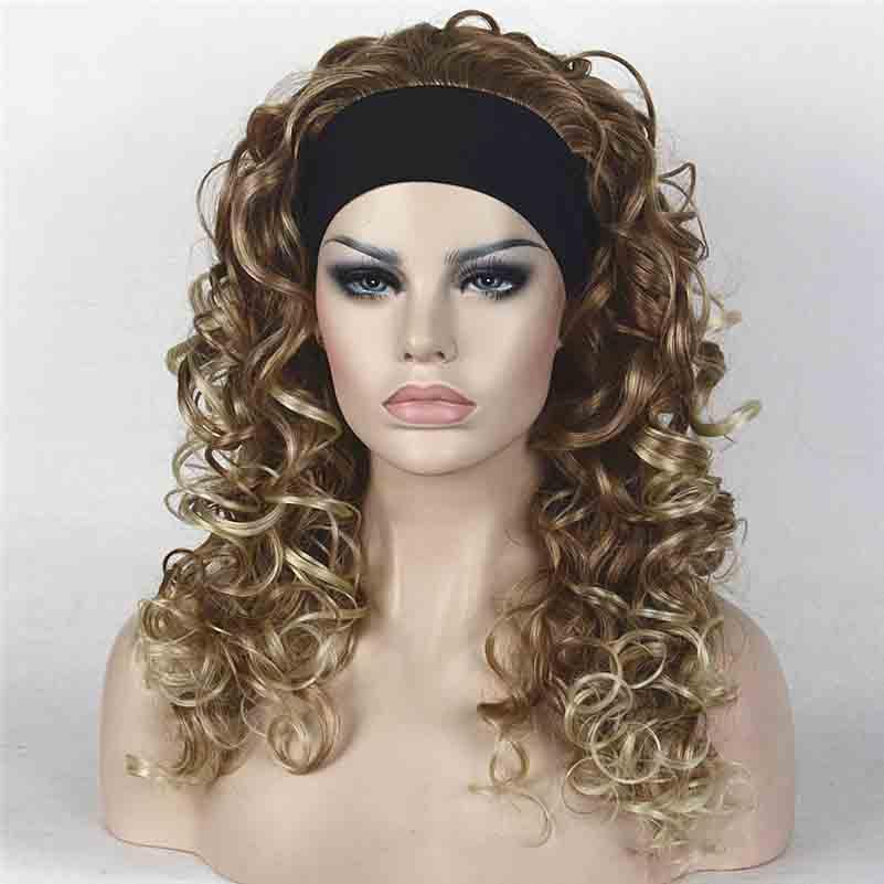Długa kręcona blondynka / brązowy syntetyczny pałąk Peruki damskie
