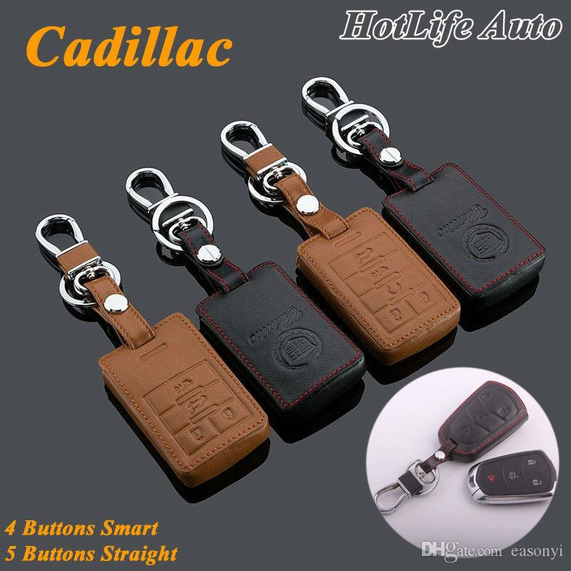 For 2010- 2015 SRX XTS SLS CTS ATS Keychain Genuine Leather Car Key Fob Case Cover Smart Car Key Ring Chain Accessories