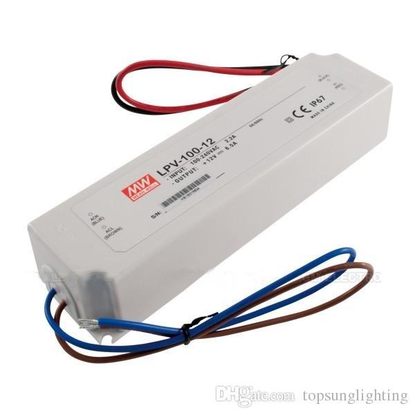 100% Original New 100watt Switching LED Power Supply Mean well LPV-100-12 ip67 waterproof led transformers 12V for led light