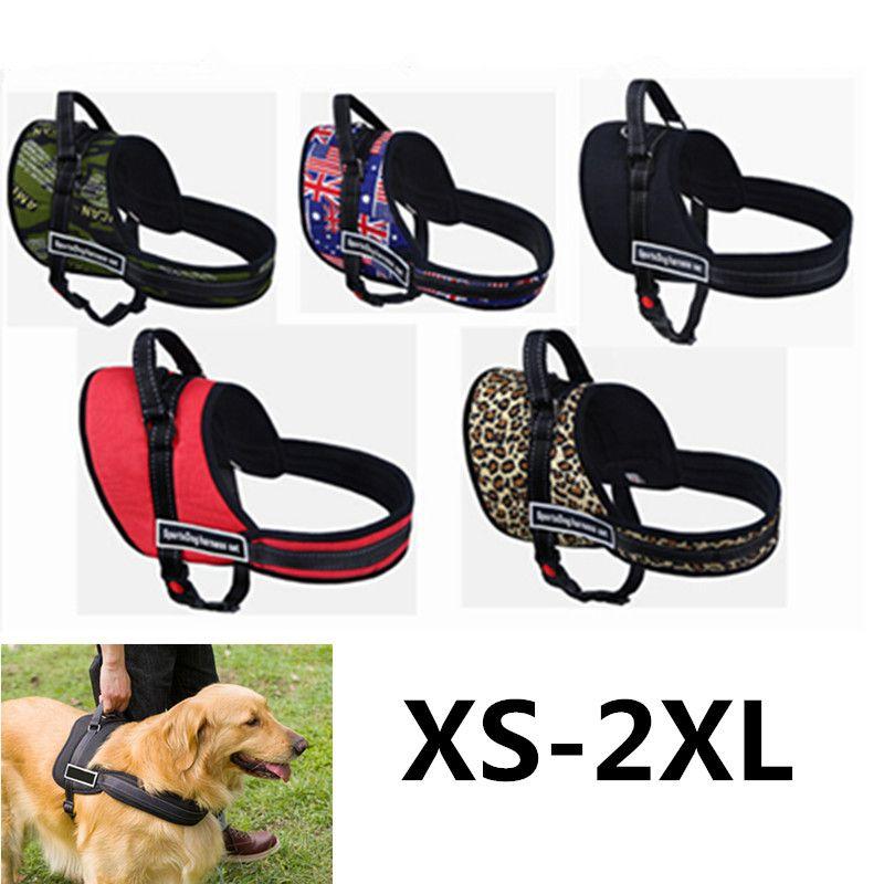 XS-XXL Large Dog Vest Harness Morbido Imbottito Ajustable Sport Training Training Cinghie pettorali Cani Collari Nylon Per Pitbull