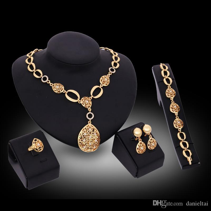 Necklaces Earrings Bracelets Rings Fashion Jewelry Sets Women 18K Gold Plated Hollow Out Water Drop 4-Piece Set Wedding Jewelry JS123