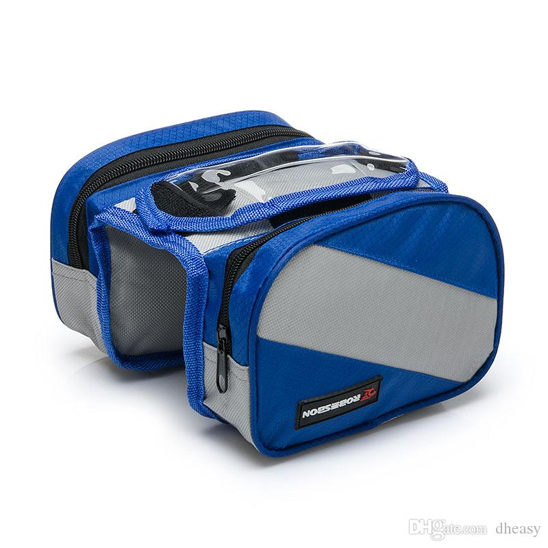 Ciclismo a prueba de agua bicicleta de la bicicleta marco delantero bolsa de tubo Pannier doble bolsa para 4.3 pulgadas bolsa de teléfono móvil 3 colores envío gratis