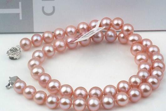 9-10mm South Sea Round Lavender Purple Pearl Necklace 20 Inch S925 Silver Accessories