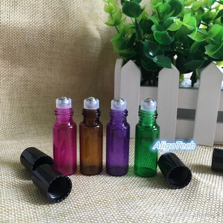 Wholesale 4 Colors 1200Pcs Empty 5ml Perfume Sample Roll Bottles Glass Bottle Roller Metal Bottle 5 ml Essential Oil Roller Ball Bottles DHL