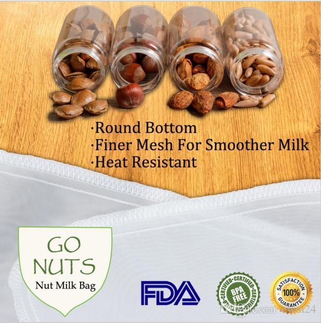 Food Filter Nut Fruit Milk Juice Coffee Mesh Bag FDA Food Grade 11.8 x 11.8 inch For Christmas Party Wedding