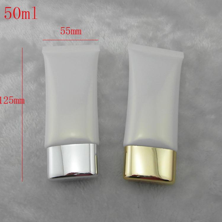 50 г пустой белый пластиковая трубка для упаковки косметики, 50 мл PE крем для рук / лица моющее средство контейнер бутылки 50 шт. / лот