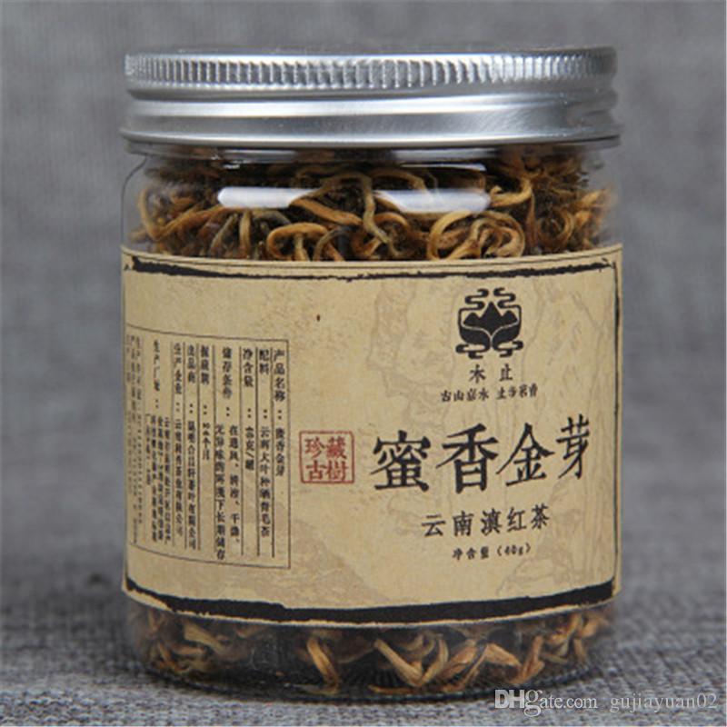 40g Promoción de Yunnan en latas Dianhong té negro chino Kungfu rojo té de miel de la fragancia Brotes de oro grandes hojas de té orgánico