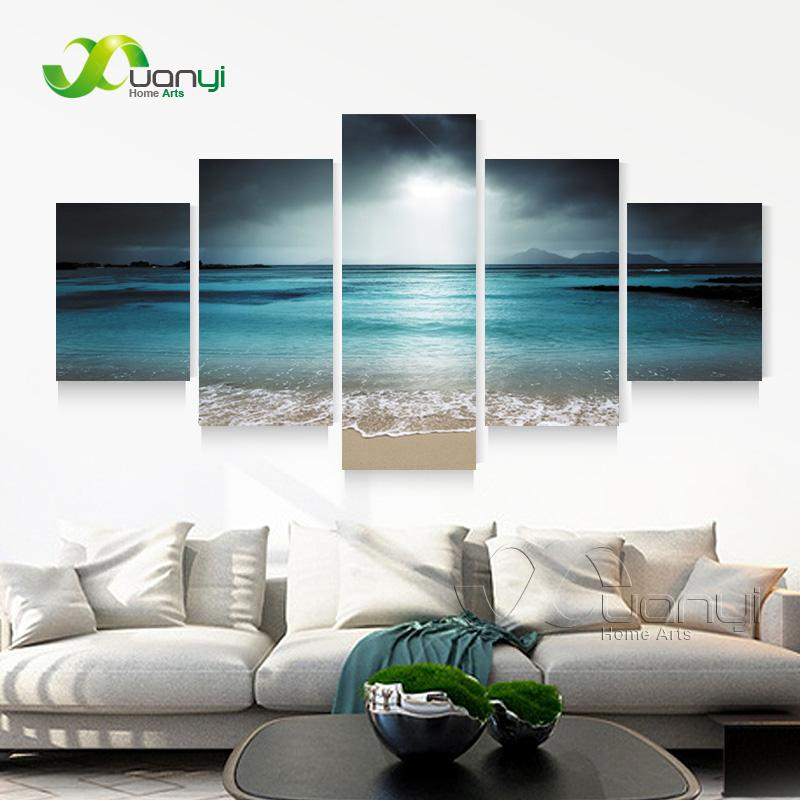 5 Panel Seascape Canvas Painting Sea Wave Beach Wall Art Cuadros Wall Picture For Living Room Modern Printing Unframed PR1268