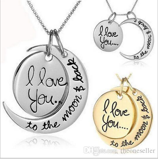 Collier de mode collier de lune je t'aime à la lune et à l'arrière pour maman