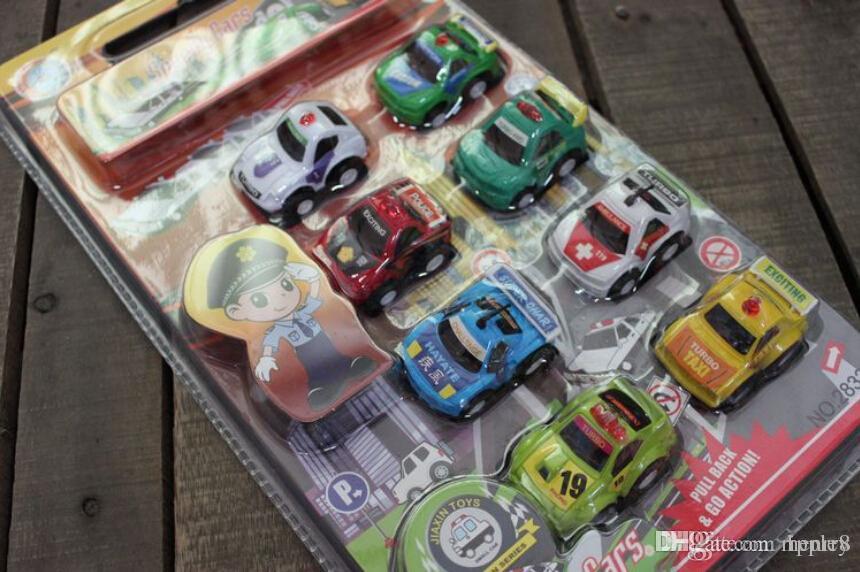 Игрушки модели автомобиля ребенка, вытягивают назад часть полицейской машины, установку 8, автомобиль игрушки перевозки