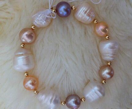 Bella 8-15mm multicolore del mare del sud perla barocca braccialetto 7.5-8inch oro 14k