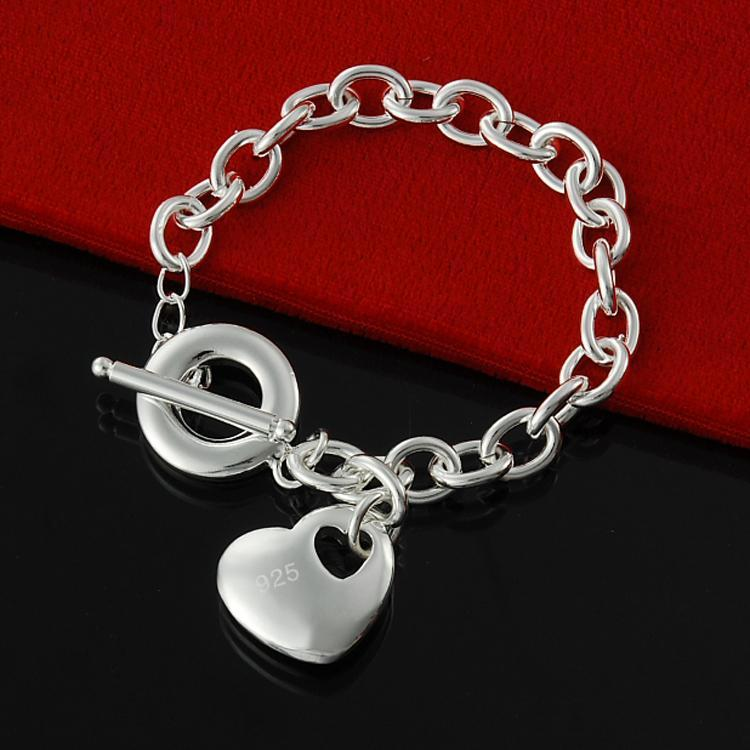 Free Shipping Factory direct wholesale 925 Sterling Silver bubble without tip Heart Bracelet Silver Heart Toggle Bracelet for