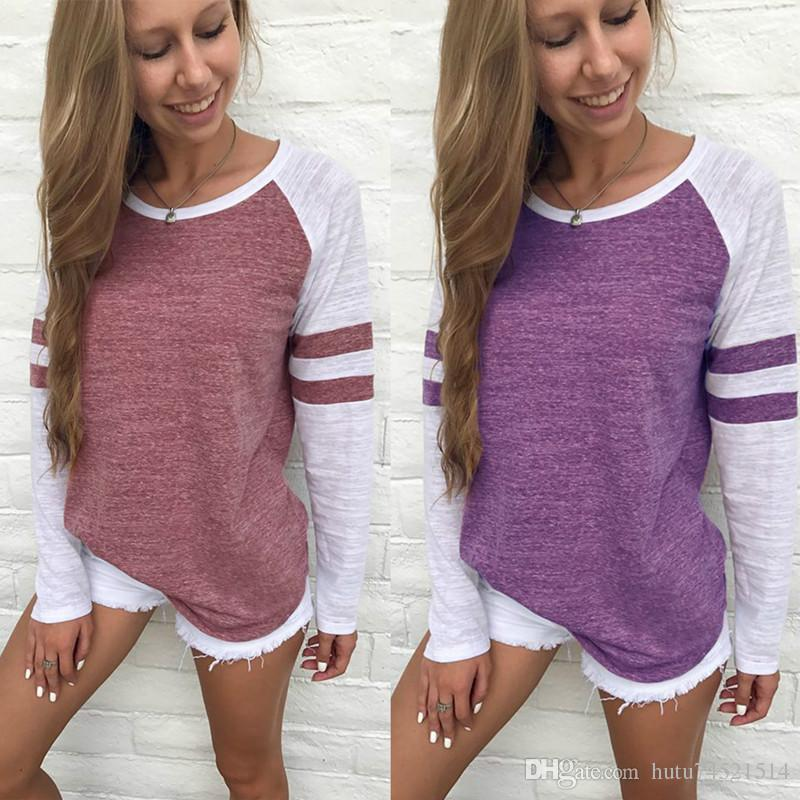 Moda Kadın İlkbahar Sonbahar Çizgili Ekleme Beyzbol T-Shirt O Boyun Uzun Kollu Üst Tee Gömlek S-4XL