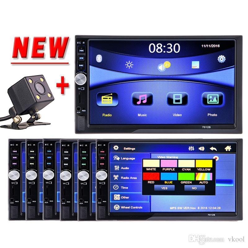 """7 """"유니버설 2 Din HD 자동차 DVD 플레이어 터치 스크린 블루투스 USB / TF FM Aux AutoRadio 멀티미디어 플레이어 후면보기 카메라"""