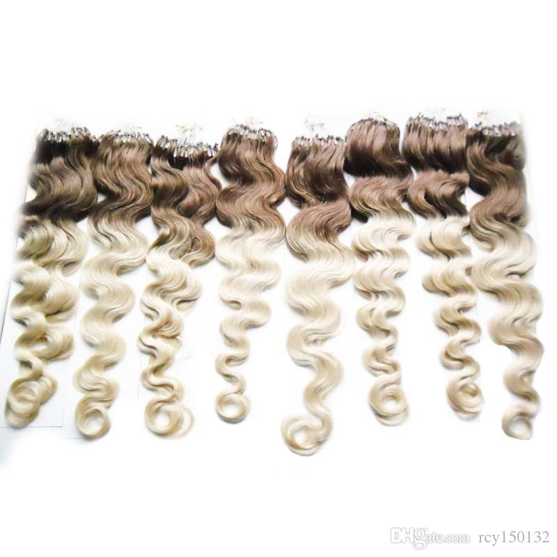 Micro loop human hair extensions body wave T4/613 two tone ombre brazilian hair 8pcs/lot 800g micro loop hair extensions