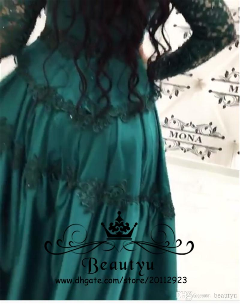 Moroccan Turkey Green Prom Dresses Long Sleeve A Line High Neck ...