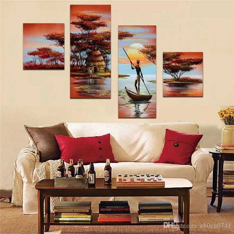 Handpainted 4 teile / satz moderne landschaft ölgemälde wanddekoration sonnenuntergang seen bilder für wohnzimmer zuhause geschenk