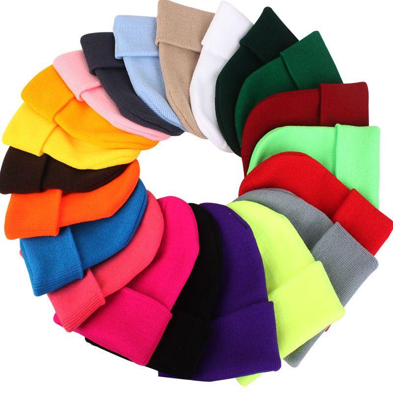 20 Farben Solide Unisex Mützen Herbst Winter Wolle Blends Weiche Warme Strickmütze Männer Frauen Schädel Kappe Hüte Gorro Ski Caps GH-132