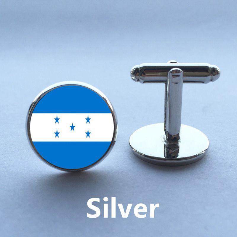Mens Cuff Silver Vintage drapeau national du Honduras Cuff Link Hommes Accessoires boutons de manchette haute qualité bouton de manche