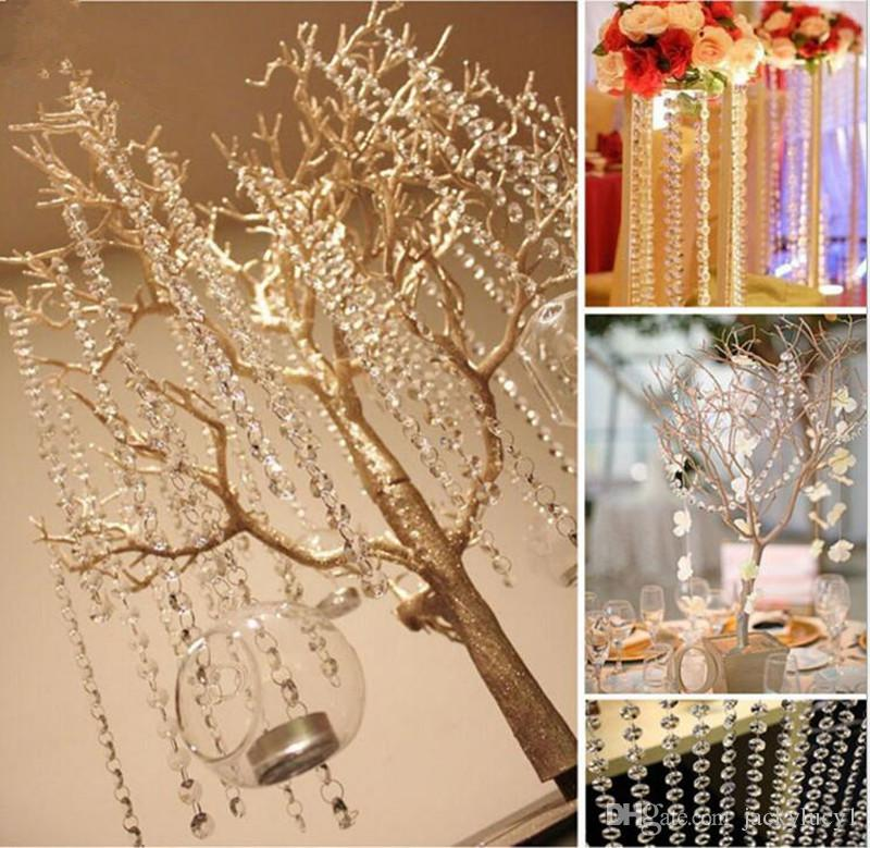 50m/lot Clear Acrylic Crystal Octagonal Bead Curtain Garland Strands DIY Craft Hanging Ornament for Wedding Party Supplies