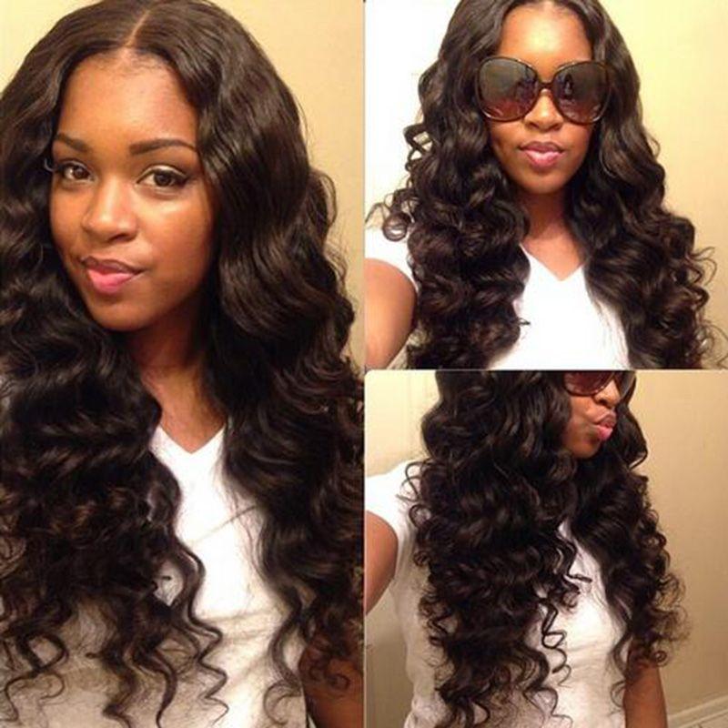 Piękna symulacja ludzki włosy peruka długie fala pełna czarna peruka styl mody włosy w dużych zapasach bezpłatna wysyłka