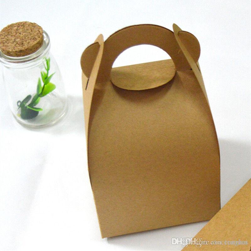 Kraft Papier Muffin-Biskuit-Plätzchen-Kuchen-Box-Party Favor Bag Geschenk Griff 10x10x7cm H2010252