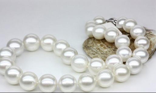 Fili singoli 11-12mm mare del sud rotondo bianco Collana di perle 19 pollici S925 Accessori