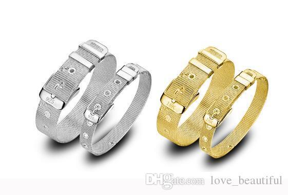 Niedrige Preis-Förderung! Marken-925 / 18k Mädchen / Madam 925 Sterlingsilber-Goldmaschen-Uhrarmband-Armband 10pcs / lot